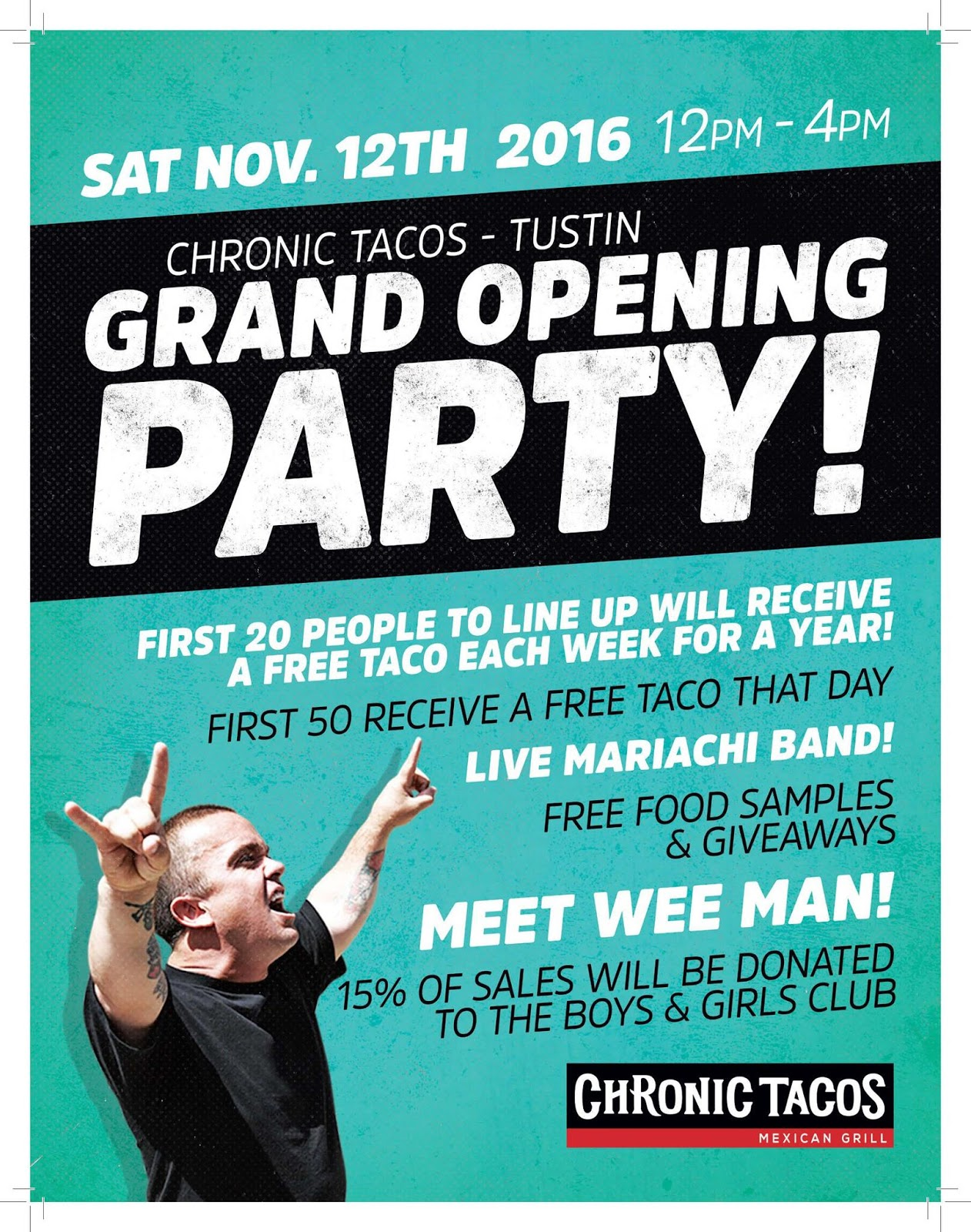 Nov. 12 | Free Tacos For A Year? Celebrate the Official Grand Opening of Chronic Tacos in Tustin!