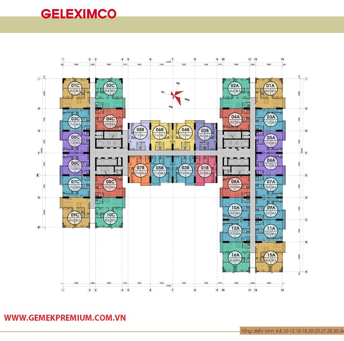 Mặt bằng điển hình tầng 4-8,10-13,15-18,20-23,27-34 chung cư Gemek Premium
