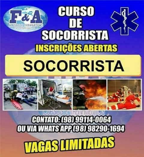 F&A Cursos informa, Aberta as inscrições para: Socorrista, brigada de incêndio e o curso como operar uma ambulância.