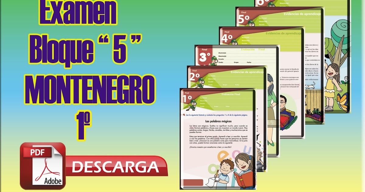 Cuadernillo De Evidencias De Matemáticas 6 - Examen Bloque 5 (MONTENEGRO) para 1º Primer Grado - Mi ...