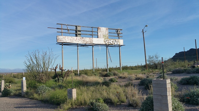 Abandoned Nickerson Farms Family Restaurant ruins near Picacho, Arizona
