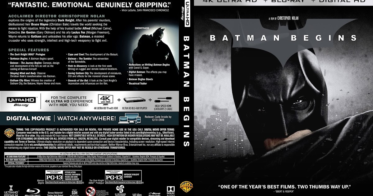 batman begins 4k bluray cover cover addict dvd and