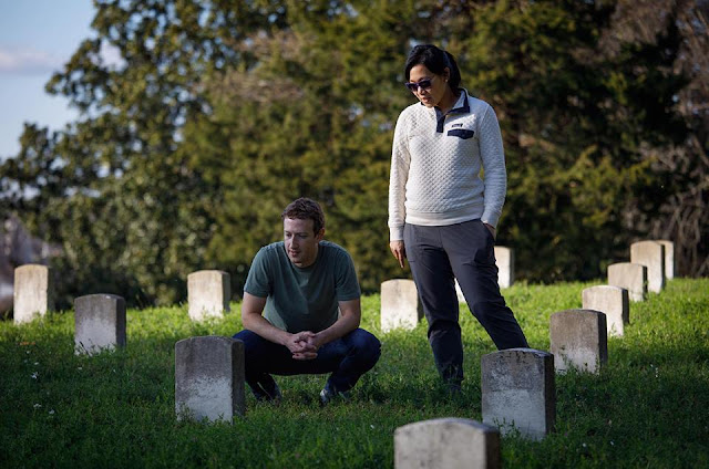 Owner Of Facebook Mark Zuckerberg And His Wife Priscilla Visits The National Cemetery