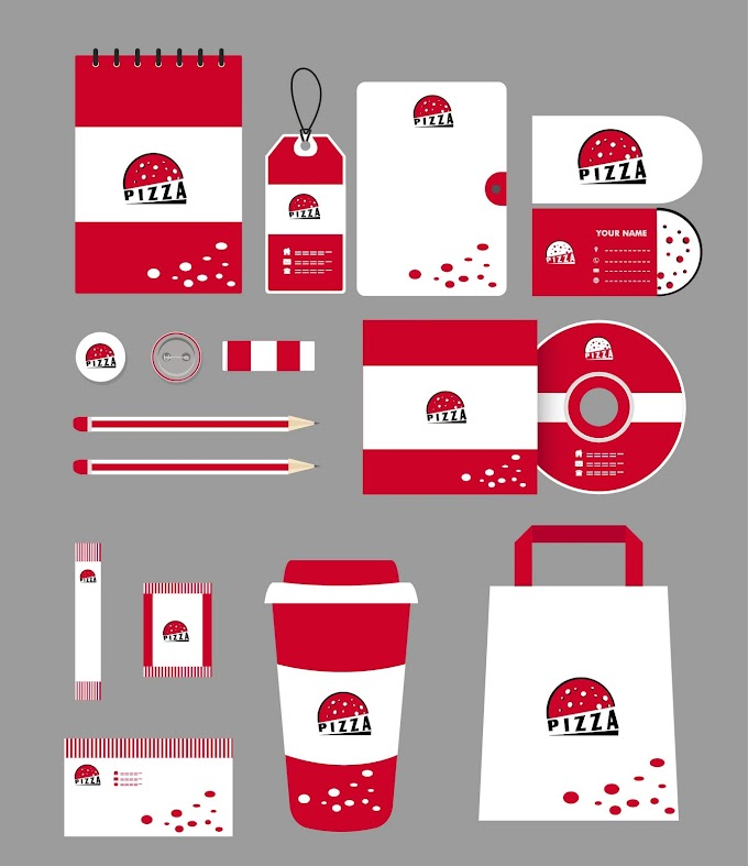 Fast food branding identity sets red pizza icon Free vector