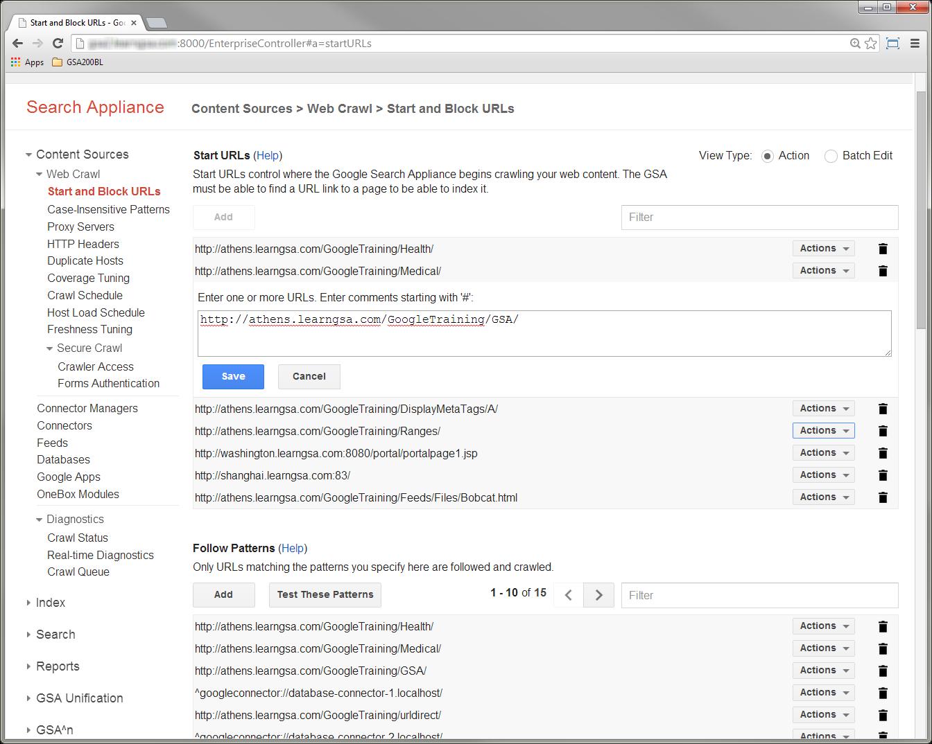 GSA 7.2 - editing a single Start URL