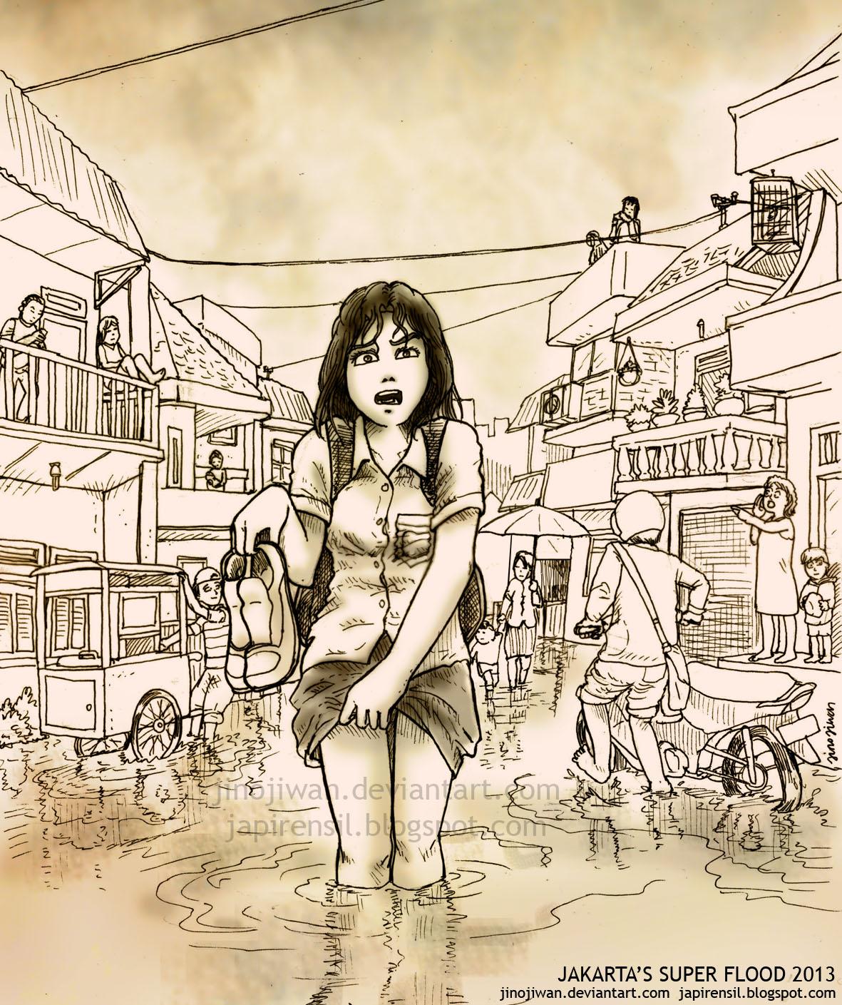 Gambar Kartun Banjir Jakarta