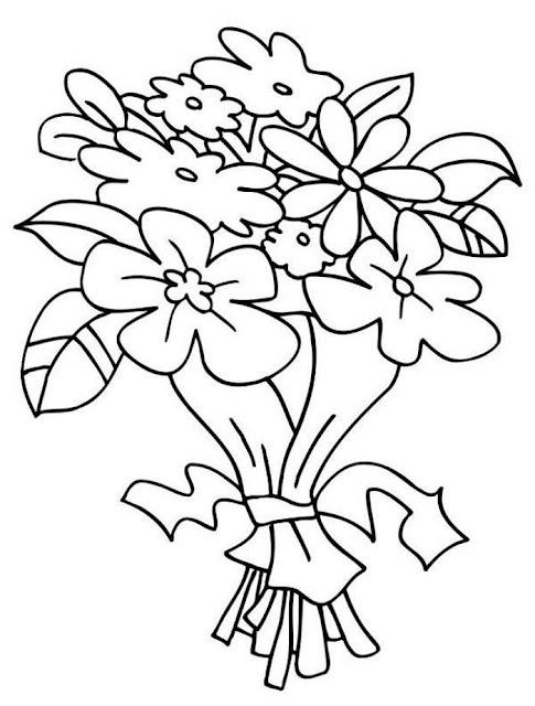 bouquet de fleurs à colorier