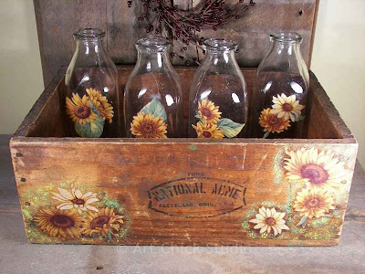 Wooden Crate MIlk Bottles Trash to Treasure