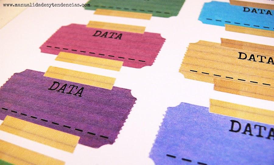 Etiquetas imprimibles para cuadernos estilo retro