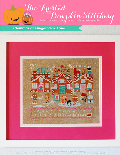 Frosted Pumpkin Stitchery - Christmas on Gingerbread Lane finished