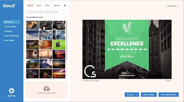 موقع stencil لتصميم صور استعراضية و اعلانية بسهولة