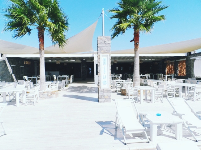 Blue restaurant beach bar Paros