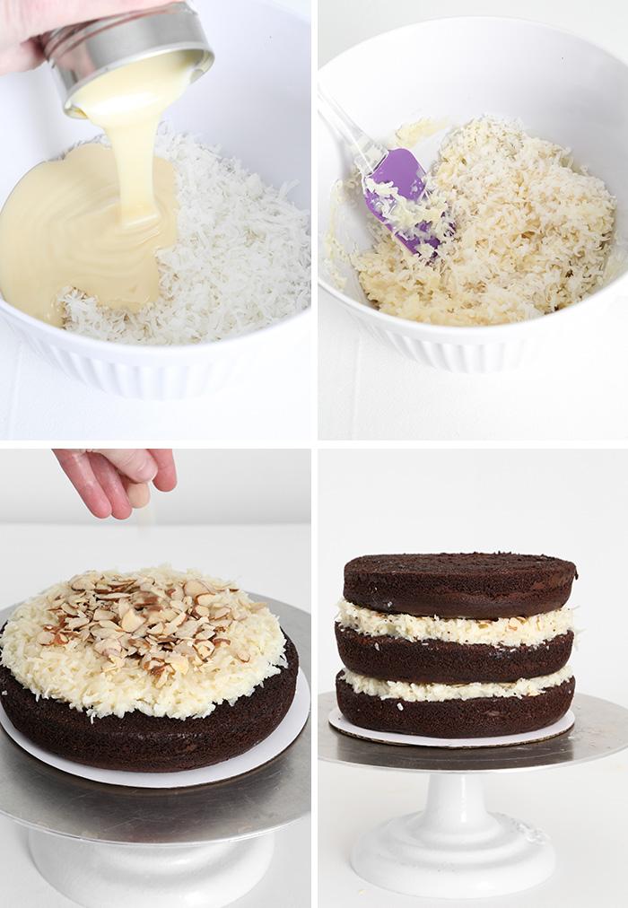 Awe Inspiring Almond Joy Layer Cake Sprinkle Bakes Funny Birthday Cards Online Amentibdeldamsfinfo