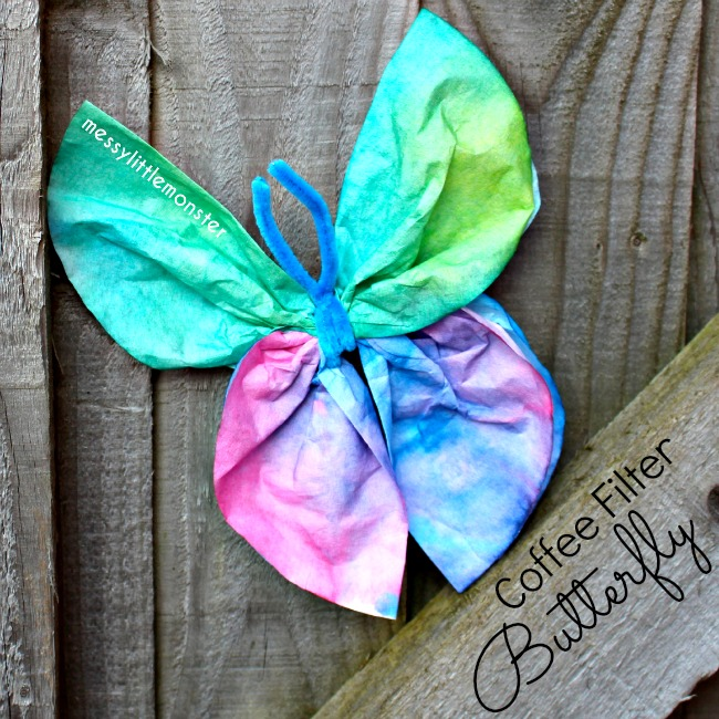 Messy Little Monster: Butterfly coffee filter craft for kids