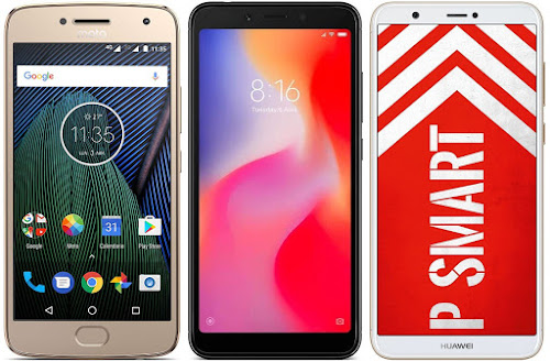 Motorola Moto G5 Plus vs Xiaomi Redmi 6 32G vs Huawei P Smart