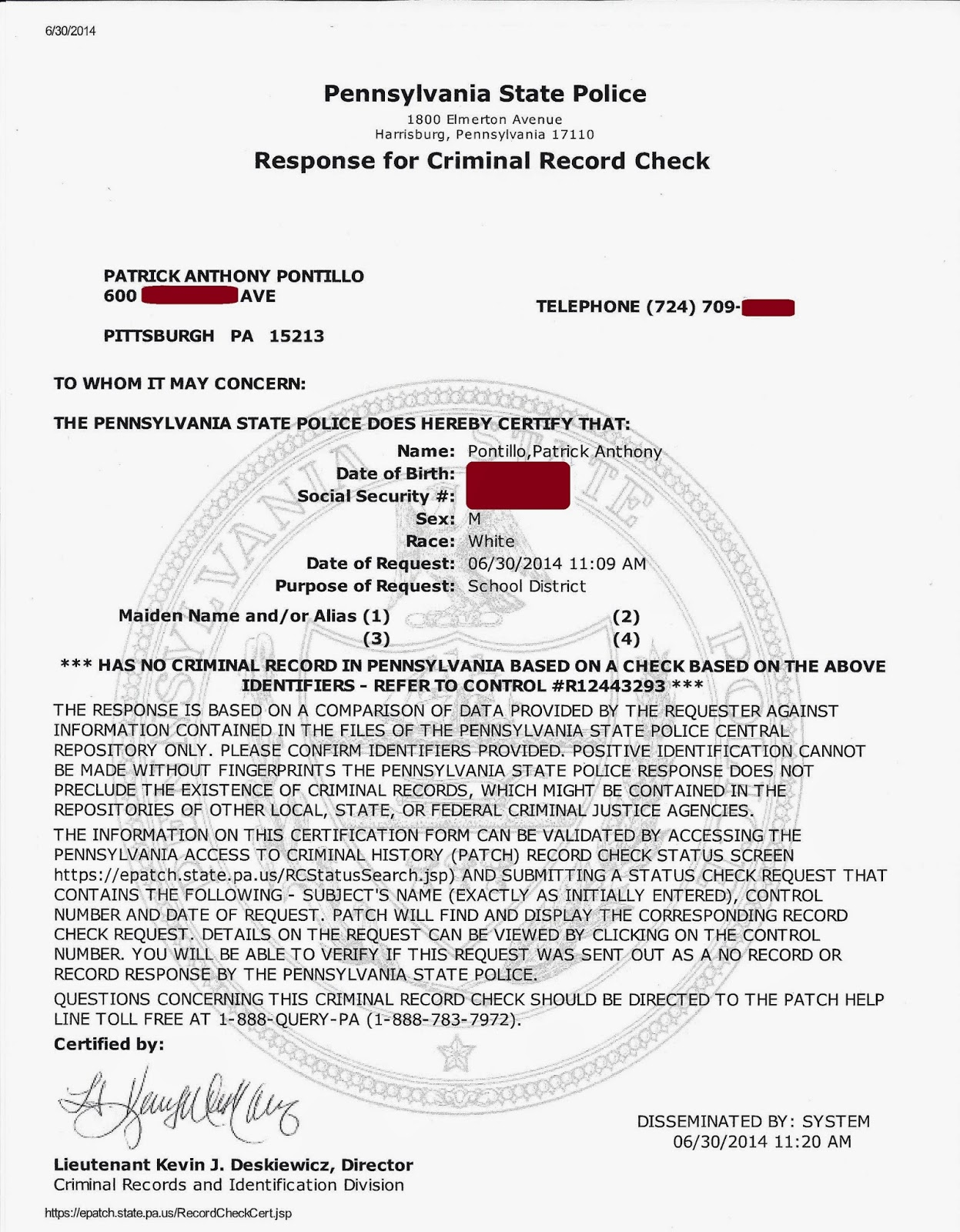 background check criminal pennsylvania police state