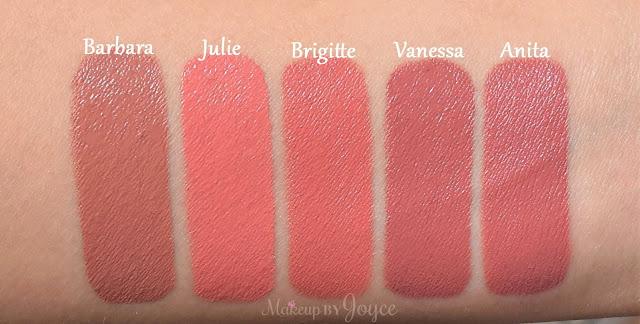 NARS Barbara Julie Brigitte Vanessa Anita Audacious Lipsticks Swatches
