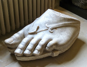 A gigantic foot from a 1st century Greek statue on display in the Chapel Corridor, Chatsworth