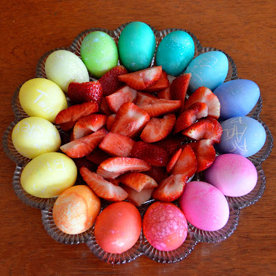 Easter Eggs on vintage egg tray