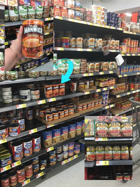 A picture of the Manwich and the Ro*tel tomatoes on the shelf in Walmart.