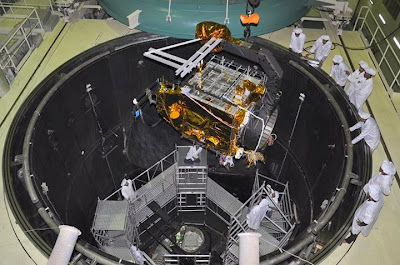 Positioning Mangalyaan inside the Space Simulation Chamber