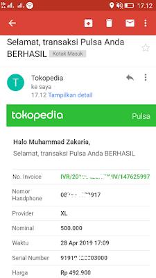Bukti Pembelian Pulsa dari Tokopedia dengan OVO Points dari Situs Yougov