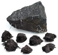 İrili ufaklı manyetit taşları ve manyetit taşlarına yapışmış demir tozları ve zımba telleri