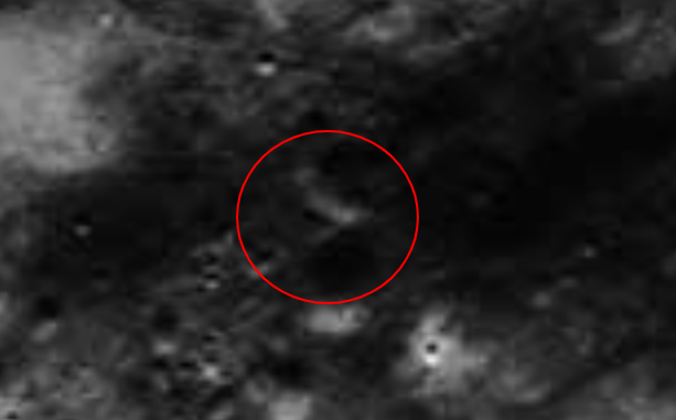 V shaped anomaly which could be an entrance to the inner Moon.