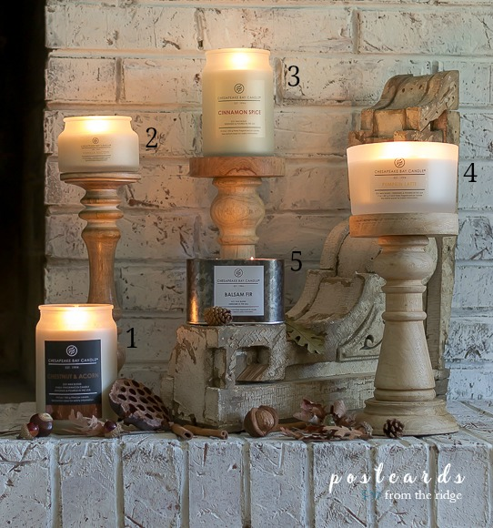 Chesapeake Bay Candles on wooden candle pillars
