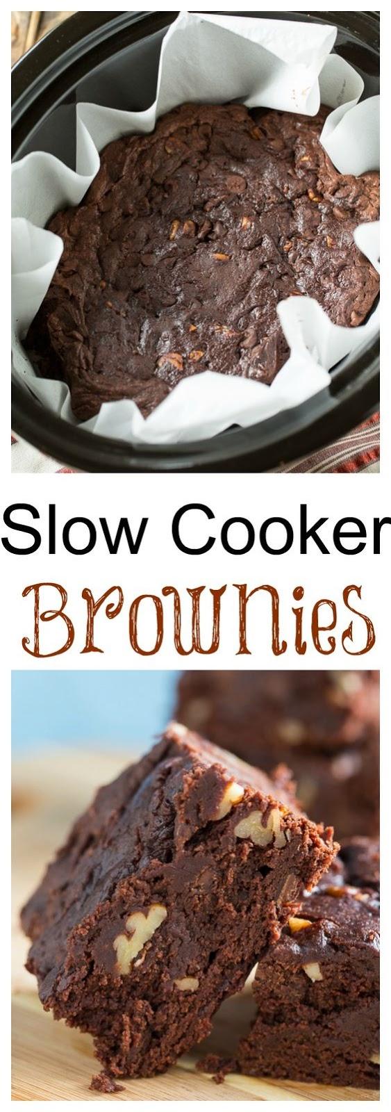 Slow Cooker Triple Chocolate Brownies