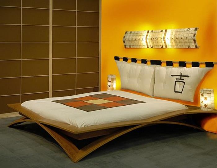 japon tarzı yatak ve sarı yatak odası dekorasyonu