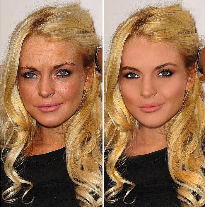 20 Before & After Images Of Celebs Reveal Society's Unrealistic Standards Of Beauty - Lindsay Lohan