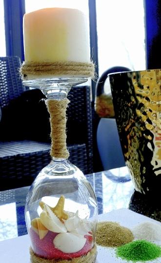 Wine Glass Candle Holder Beachy Coastal Nautical