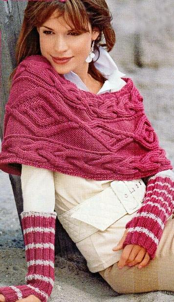 Вязаная накидка и митенки Вязание спицами, крючком, уроки вязания.