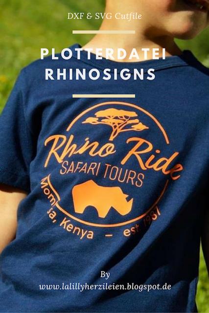 Ein Safarilogo mit Nashorn als Plottervorlage ist nicht nur für kleine Wildtier-Fans, sondern auch für die ganz großen ein toller Hingucker auf einem Shirt oder einer Tasche.
