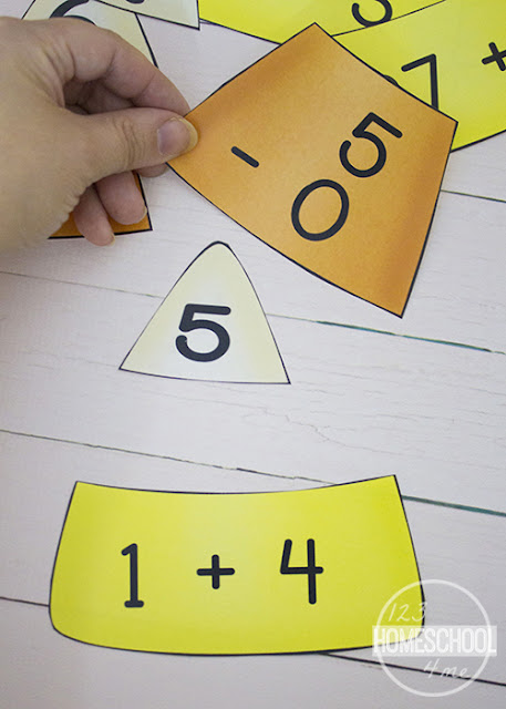 FREE Candy Corn Math Puzles for addition practice, subtraction puzzle with a fun fall math twist for kindergarten, first grade, 2nd grade, 3rd grade
