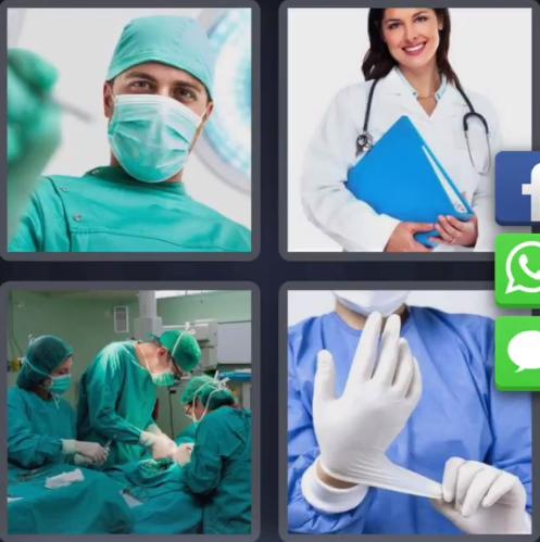 4 fotos 1 palabra doctores hospital cirugia guantes operando