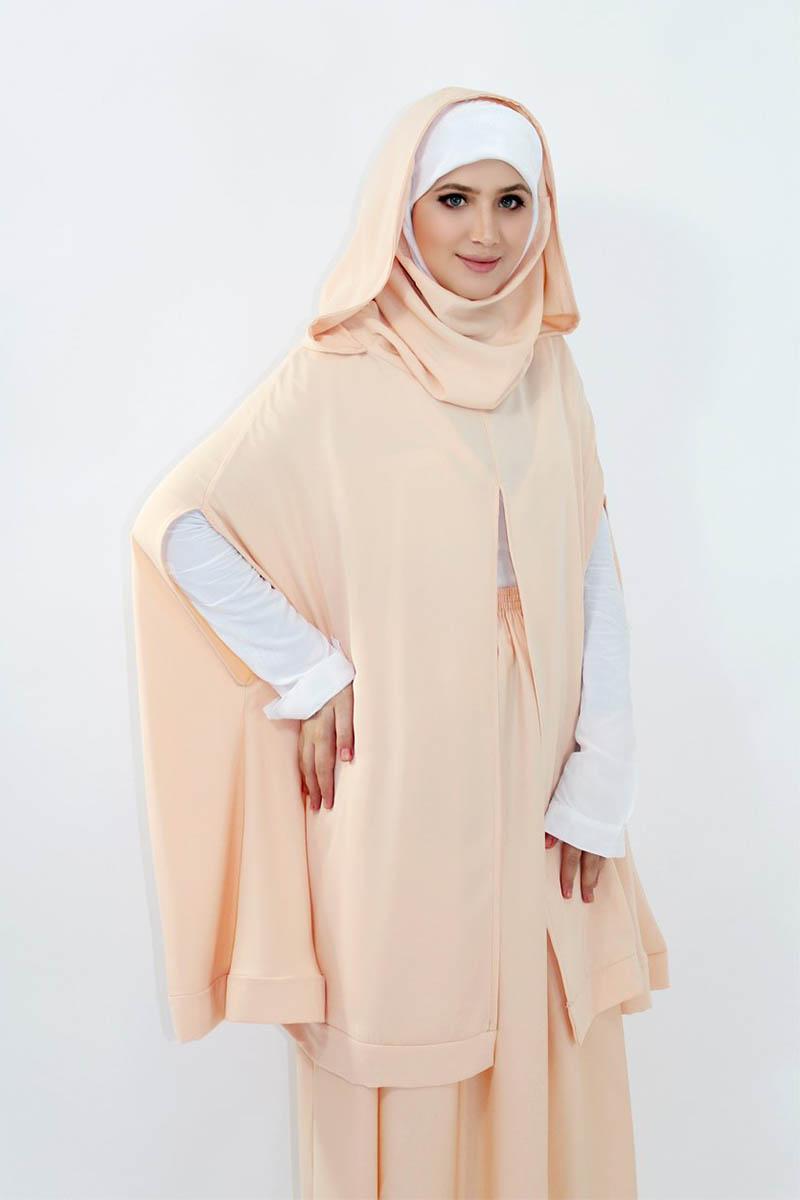 gamis pink jilbab warna Nude