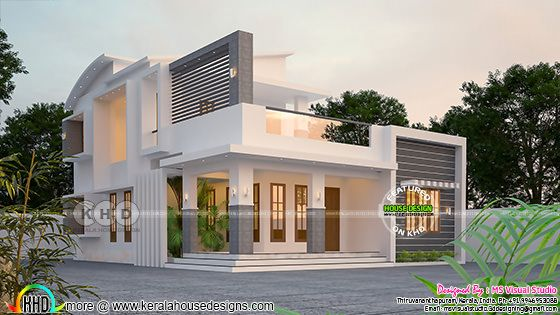 1756 sq-ft contemporary 3 bedroom home plan