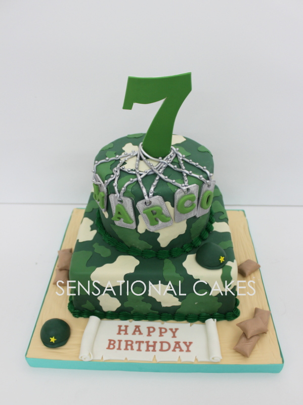 The Sensational Cakes 2 TIER CAMOUFLAGE ARMY THEME CAKE SINGAPORE