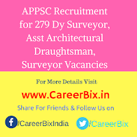 APPSC Recruitment for 279 Dy Surveyor, Asst Architectural Draughtsman, Surveyor Vacancies