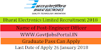 Bharat Electronics Limited Recruitment 2018 – 26 Engineer Officer