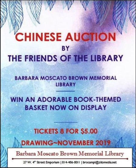 Chinese Auction, Barbara Moscato Brown Library, Emporium, PA