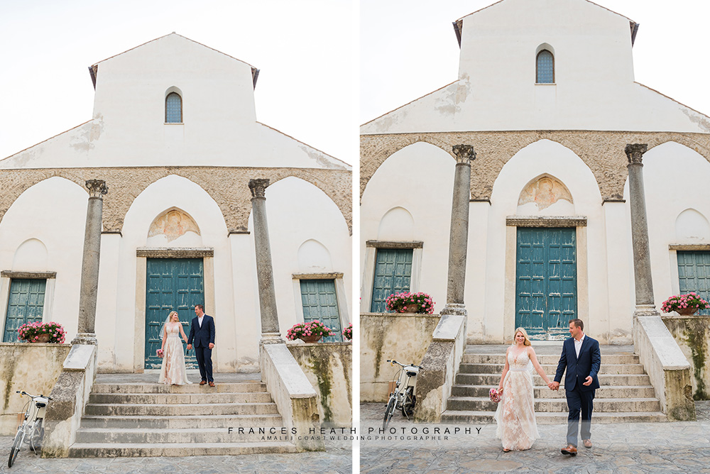 Bride and groom in front of Ravello church