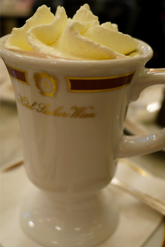 Hot chocolate at Sacher Cafe in Vienna