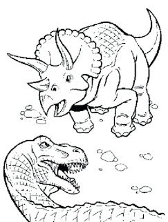 Triceratops Dinosaur Fighting Coloring Sheet