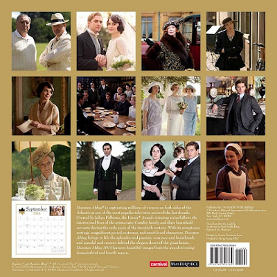 Downton Abbey 2014 calendar back showing all images included in the calendar.