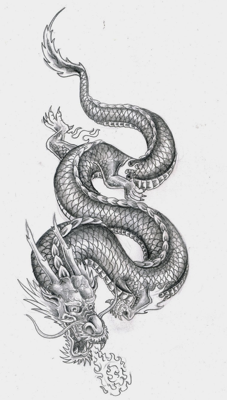 Chinese dragon with fire ball tattoo stencil