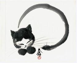 sumi japanese painting ink cat brush artist simple sumie paintings zen calligraphy asian chinese kitty tattoo workshop saturday tube dedham