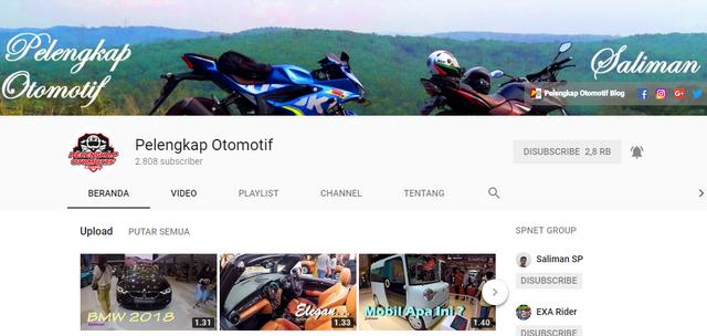 nah pada kesempatan kali ini saya Saliman sebagai admin blog ini akan mengenalkan channel Pelengkap Otomotif Channel YouTube Kebumen